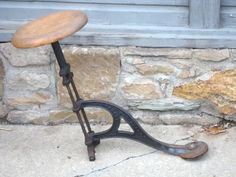 Antique Cast Iron and Oak Trolley Swing-out Stool - R.M. Burrows Cleveland, Ohio