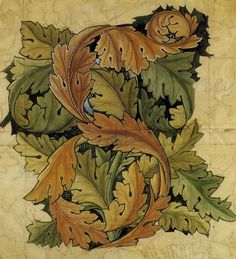 Acanthus is emblematic of William Morris. Tiles based on the original William Morris 1874 textile pattern, first manufactured as wallpaper by Jeffrey and Co. Art Furniture, Furniture Design, Craft Victoria, Inchies, Ethno Design, William Morris Art, Motifs Textiles, Morris Wallpapers, Pre Raphaelite