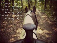 I am his eyes,  He is my wings,   I am his voice,  He is my spirit,  I am his human,  He is my horse.