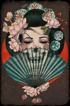 death becomes her by amy dowell geisha w/ skull fan asian tattoo fine art print japanese asian oriental chinese alternative-artwork