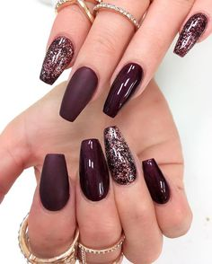 #nail #nails #fall #fallnails #fallcolor #fallnailcolor #coquitlamnails #vancouvernails #coquitlam #vancouver #beauty #fashion #mua #rings #purple #darkcolor #sparkle #nailswag #nailstagram