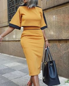 Colorblock Short Sleeve Crop Top & Skirt Sets trendiest dresses for any occasions, including wedding gowns, special event dresses, accessories and women clothing. Mode Outfits, Office Outfits, Dress Outfits, Casual Dresses, Fashion Outfits, Maxi Dresses, Elegant Dresses, Summer Dresses, Formal Dresses