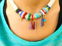 Boho necklace colorful boho jewelry rope necklace by Handemadeit