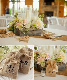 Ideas for using burlap as wedding decorations for a rustic or shabby chic look. #DIY #Wedding