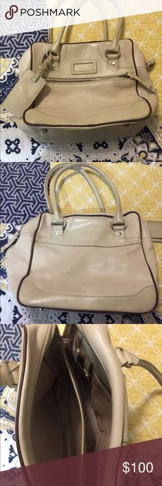 DKNY - Bag DKNY Bag - color beige with brown trim - gently used Dkny Bags