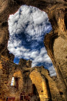 """Dramatic shot of a heavenly view! Used to be the roof of a castle in Valkenburg, Netherlands. """"There used to be a roof on the Lord's bedroom"""" - photo by Wameq R"""