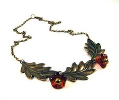 Oak leaf necklace with brown flowers jewelry antique brass bronze victorian vintage style by RobinEva for $19.50