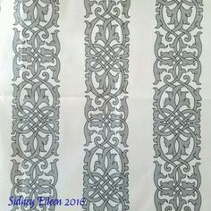 Detailed Tudor Floral Knotwork - Spoonflower Design, by Sidney Eileen; fabric, wallpaper, and gift wrap design based on the blackwork embroidery on Henry Tudor's doublet in an extant portrait. It is fully detailed for use as printed.