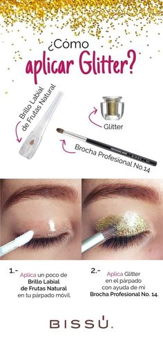 Add a good dose of glitter to your look and fix it all day with this trick: 18 Brillantes trucos para volverte una experta del maquillaje Diy Beauty, Beauty Makeup, Beauty Hacks, Diy Makeup, Makeup Tips, Glam Makeup, Eyelash Case, Glitter Lips, Glittery Nails
