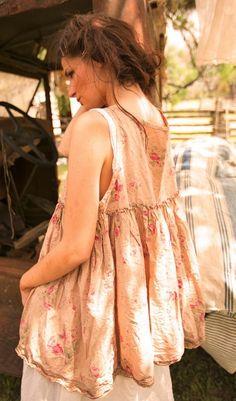 Cotton Lilou A-line Floral Tank Top with Cotton Lace Hem