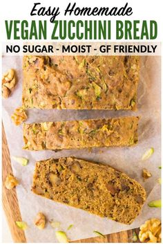 The BEST Vegan Zucchini Bread recipe! Super moist, easy, and healthy vegan zucchini bread. NO SUGAR, Sugar Free Zucchini Bread, Pumpkin Zucchini Bread, Vegan Zucchini Recipes, Healthy Bread Recipes, Best Keto Bread, Vegan Bread, Whole Food Recipes, Zucchini Bread Vegan, Snack Recipes