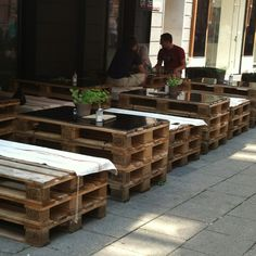 OUTDOOR TABLES/SEATING................Pallets Pallets Pallets    Graz Austria - outdoor café. Whoa!! Very cool with the pallets! http://HeavenOnEarthTravel.4mydeals.com