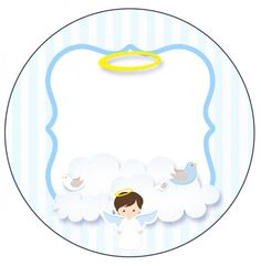 - Oh My Bebé! Baptism Party Decorations, Angel Theme, Candy Bar Labels, Printable Pictures, Baby Baptism, Party Kit, Baby Birthday, Baby Cards, Scrapbooking Layouts