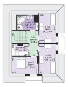 DOM.PL™ - Projekt domu Dom przy Sielskiej 2 CE - DOM EB2-85 - gotowy koszt budowy Best House Plans, Good House, Teak, Floor Plans, How To Plan, Home Decor, Houses, Two Story Houses, Home Plans
