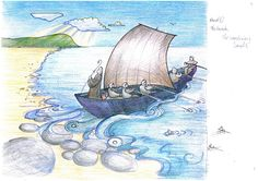 Panel 1. Coloured Illustration Designs for Minehead Harbour Project, depicting the rich and varied history of Minehead Harbour, Somerset, UK