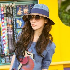 22K Blue Two Colors Patchwork Design Straw Fashion Hats http://earrings.asumall.com/