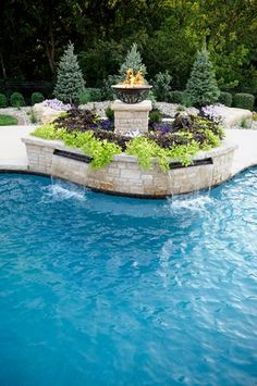 Fire Pedestal, Pool Planter, Sheer Descent Spillway Decor and Accessory Artistic Group Inc. St. Louis, MO