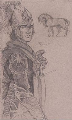 Feanor armor sketch by Jenny Dolfen