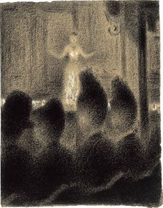 "Georges Seurat, At the Concert Européen, 1886-88, Conté crayon and white gouache on paper, 12-1/4 x 9-3/8"", The Museum of Modern Art, Lillie P. Bliss Collection, 1934 archiveseurat"