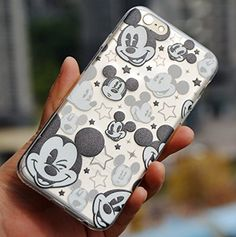 "Amazon.com: For iPhone 6 / 6S Case - Disney Mickey Mouse Faces Soft TPU Black/Clear Transparent Rubber Silicone ULTRA THIN Slim Fitting Skin Cover (Apple iPhone 6 or 6S 4.7""inch): Cell Phones & Accessories"