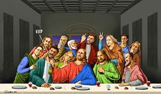 Holy Selfie: Satirical Illustrations Of Religious Figures Taking Selfies  This is a great example of religious satire. They take a well known religious symbol or icon such as the painting of the last supper and apply modern notions with a sarcastic twist. In this case, they use the modern phenomenon of selfies (and selfie sticks) to appeal to a younger generation.