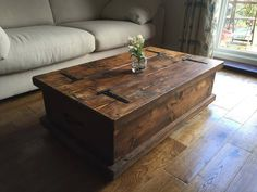 CHUNKY RUSTIC COFFEE TABLE CHEST SOLID WOOD DARK OAK STAIN FREE UK SHIPPING