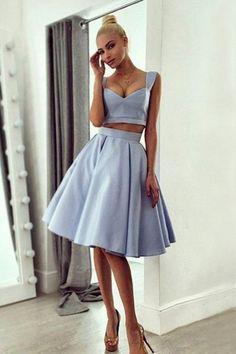 f71b5ec978c Homecoming Dress,Short Prom Dress,A-line Satin Low-Cut Two Pieces  Homecoming Dress Sexy Homecoming Dress Prom Gown A-Line Prom Dresses  Graduation Dress ...