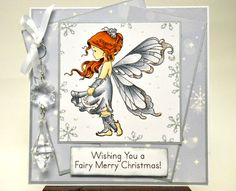 Log in to your Etsy account. Create Birthday Card, Birthday Cards, Christmas Cards To Make, Winter Christmas, Fairy Coloring, Whimsy Stamps, Beautiful Fairies, Copics, Digital Stamps