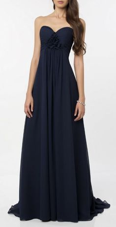 Chiffon strapless gown with a sweetheart neckline. Perfect for a bridesmaid dress