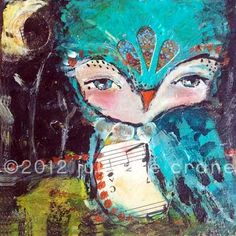 Mixed Media Painting 125 x 125 inch Print of the by juliettecrane, $55.00