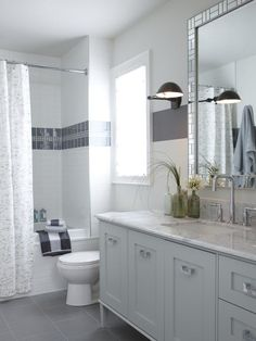Sarah Richardson spent a large chunk of the home's upgrade budget to outfit each of the bathrooms with natural stone tile