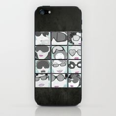 Goggles & Glasses horizontal iPhone & iPod Skin by Aquamarine Studio - $15.00 Goggles, glasses, digital, paper, collage, eyeglasses, spectacle, fashion, people, men, women, optometrist, optometry, vision, wear, faces, people who wear glasses, black, white, illustration, technique, winter, quilt, quilting, texture, textile, fabric, aqua, fuchsia, black, white, contemporary, art, mixed media, children's rooms