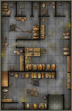 Tavern Basement barrels sewer grates stairs up & outside entrance Dungeon Room, Dungeon Tiles, Dungeon Maps, Dungeons And Dragons Homebrew, D&d Dungeons And Dragons, Tabletop Rpg, Tabletop Games, Dark Sun, Dnd World Map