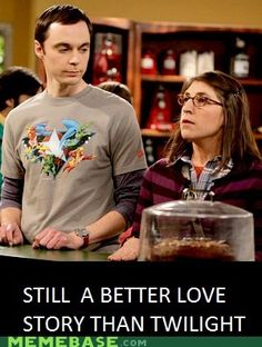 No physical contact, still a better love story than Twilight. Big Bang Theory is the best show!