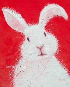 Rabbit painting Easter bunny art Easter gift bunny by JanMatsonArt