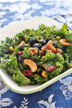 Mrs. Sketchbook's Superfood salad with kale, cashews, blueberries, craisins, edamame, and sunflower seeds
