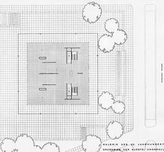 Plan of the Neue National galerie by Ludwig Mies van der Rohe.