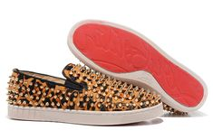 Christian Louboutin Roller-Boat Spikes Printed Pony Mens Flat Sneakers Leopard