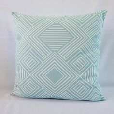 One (1), beautiful, geometric pillow cover in aqua seafoam seaglass and white. Throw pillow covers are an easy an economical way to accent any