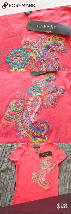 Lauren Ralph Lauren NWT beaded tee Coral cotton tee with intricate embroidery and beading in a colorful paisley design. Lauren Ralph Lauren Tops Tees - Short Sleeve