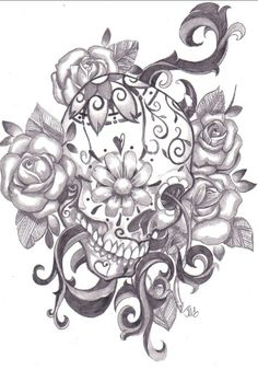 Yet another sugar skull tattoo ^,^