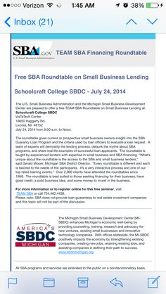 #detroitevents   The roundtable gives current or prospective #smallbusiness owners insight into the #SBA Guaranty #Loan Program and the criteria used by loan officers to evaluate a loan request.     For more information or to register online for this free seminar, visit    TEAM SBA or call 734.462.4438.   Please note: SBA does not provide loan guarantees to real estate investment companies and this topic will not be part of the discussion. #womeninbusiness #entrepreneur #detroit