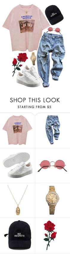 """im happy again // 5:20 pm"" by peaches-n-kream ❤ liked on Polyvore featuring Levi's, Puma, ASOS and Rolex"