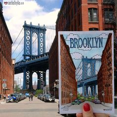 I have spent many days strolling the streets of Brooklyn and often find myself back at this spot. With a striking view of the Manhattan bridge, this street in Dumbo is one of my all time favorites! I simply had to draw it to add it to my growing collection of travel postcards! Hope you enjoy this view as much as I do :) #art #drawing #sketch #postcard #travel #instatravel #brooklyn #manhattan #bridge #manhattanbridge #architecture #newyork #ny #nyc