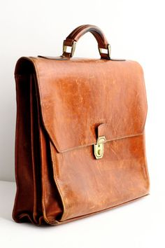 Vintage Leather Briefcase or School Bag Laptop Case by CrolAndCo