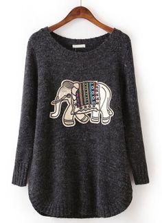 Black Long Sleeve Elephant Pattern Loose Sweater US$32.62