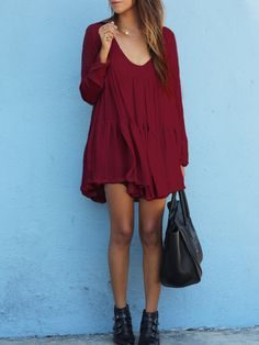 Red+V+Neck+Long+Sleeve+Pleated+Dress+18.13