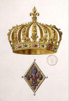 Couronne d'Henri IV  Cette couronne réalisée pour le sacre d'Henri IV à Chartres était à 12 demi-arches ornées de feuilles, 6 avec fleurs de lys, 6 avec feuille de persil ; 6 émaux rouges et 6 émaux bleus, imitant rubis et saphirs, étaient séparés des par des boules d'émail blanc imitant des perles.