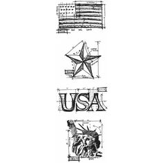 Tim Holtz® Mini Blueprints Strip Cling Rubber Stamps Americana