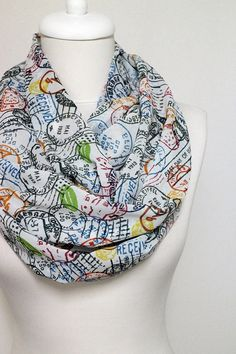 Stamps Pattern Chiffon Infinity scarf Circle scarf by Aslidesign